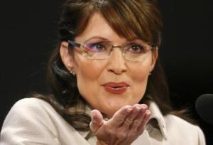 Republican vice presidential candidate Palin blows a kiss to her family during her address at the 2008 Republican National Convention in St. Paul