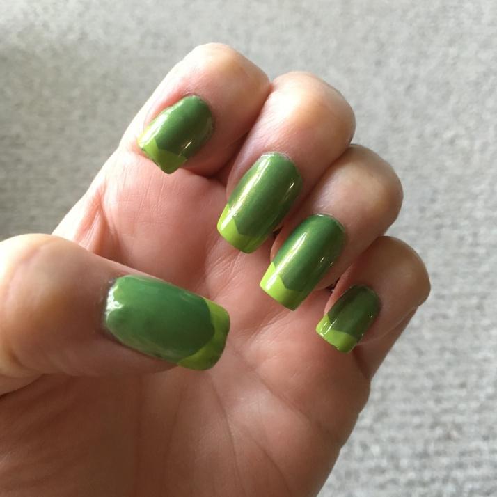 Summer Green Manicure 6-4-16 close up