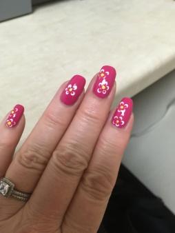 Pink flower mani 7-14-16-1